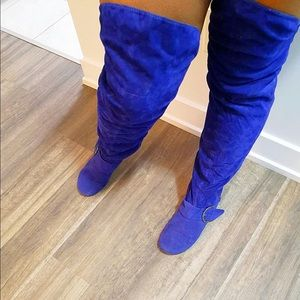 Shoes - Blue suede boots